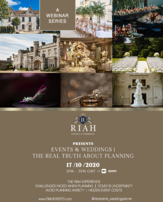"A poster with 6 wedding related images and text below ""Prsents Events & Weddings, The real truth about planning"""